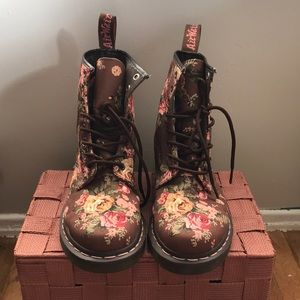 Dr. Martens Brown Canvas Flower Print Boot
